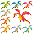 Set of colored dragons vector image