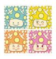 set of cute mushroom cartoons vector image