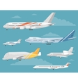 Set of Variety Aircraft Flat Style vector image