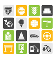 Silhouette road and travel icons vector image vector image