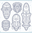 sketch icons set african ethnic tribal vector image