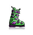 Ski boots sketch for your design vector image vector image