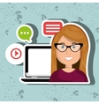 social networking user laptop isolated icon design vector image vector image