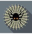 Spider on cobweb icon flat style vector image