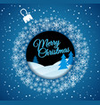 square blue christmas card white christmas ball vector image