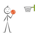 stick man playing basketball hand drawn in vector image vector image
