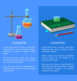 textbook and chemistry tools isolated vector image vector image