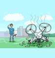 the drone fell from a height and broke into pieces vector image vector image
