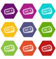 ticket icon set color hexahedron vector image vector image