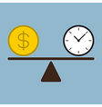 time and money coin on scale vector image vector image