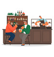 two men friends sitting on modern chair eating vector image vector image