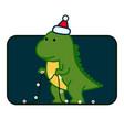 tyrannosaurus christmas cute card template vector image