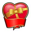 valentine day heart with red ribbon and bow vector image
