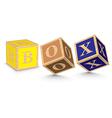 Word BOX written with alphabet blocks vector image vector image
