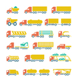 Set flat icons of trucks trailers and vehicles vector image