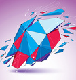 3d low poly digital object with connected lines vector image