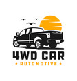 4wd pick up car logo vector image vector image