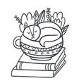 Adorable sleepy kitten books and plants vector image