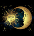 antique style golden sun crescent moon and stars vector image
