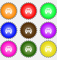 Auto icon sign A set of nine different colored vector image vector image