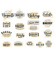 bakery hand drawn lettering icon with bread sketch vector image vector image