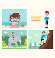 boy snorkeling climbing rock and riding elephant vector image vector image