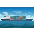 cargo ship with containers background vector image