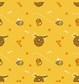 cute flying little bee hive honeycomb with honey vector image