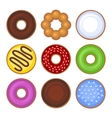 Donuts Collection Icons Set on White Background vector image