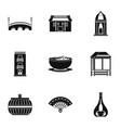 european street icons set simple style vector image vector image