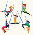 fly yoga flat colorful set vector image