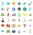 flying transport icons set cartoon style vector image vector image