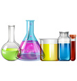 Glass beakers with colorful liquid vector image vector image