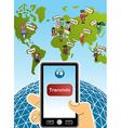 Global translation smart phone world map vector image vector image