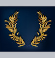 golden laurel wreath with leaves and copy space vector image