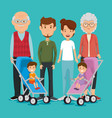 group of family members avatars characters vector image vector image
