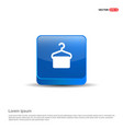 hanger with towel icon - 3d blue button vector image