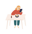 happy woman surfing internet watching at tablet vector image vector image
