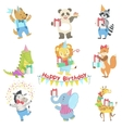 Humanized Animal Characters Attending Birthday vector image vector image