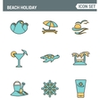 Icons line set premium quality of beach holiday vector image vector image