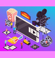 isometric cinema elements composition vector image vector image