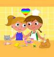 lesbian couple cooking happily vector image vector image