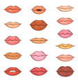 lip kiss cartoon smile and beautiful red vector image