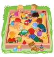 little boys and girls sitting in sandbox play vector image vector image