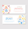 little prince and princess banner templates set vector image