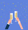 male and female hands holding champagne glasses vector image vector image