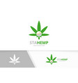 marijuana leaf and graph logo combination vector image