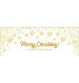 merry christmas with golden decoration snowflake vector image