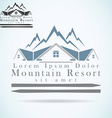 Mountain resort raster logo design template vector image vector image