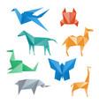 paper animals crane horse camel crab dragon vector image